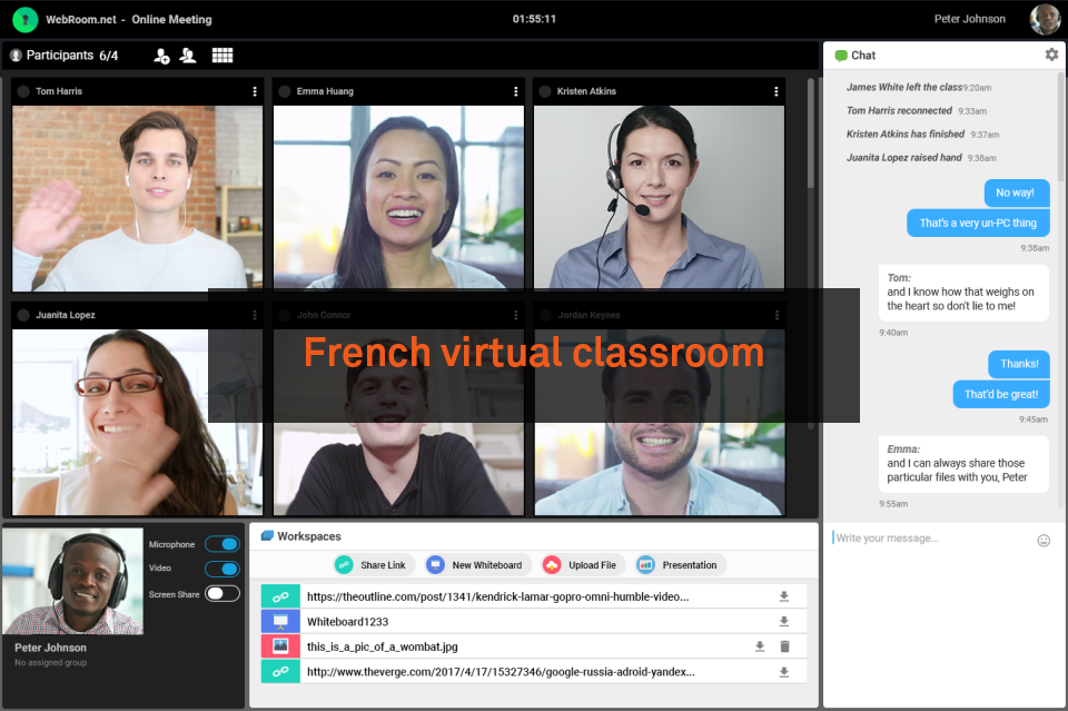 french virtual classroom